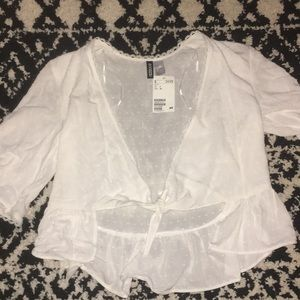 H&M White Coverup Shirt